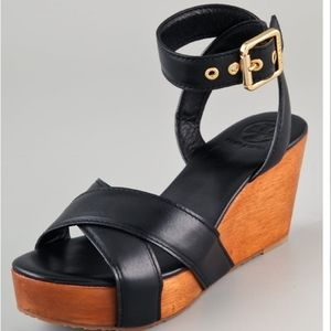Tory Burch Midnight Blue Wood Wedge Leather Gold